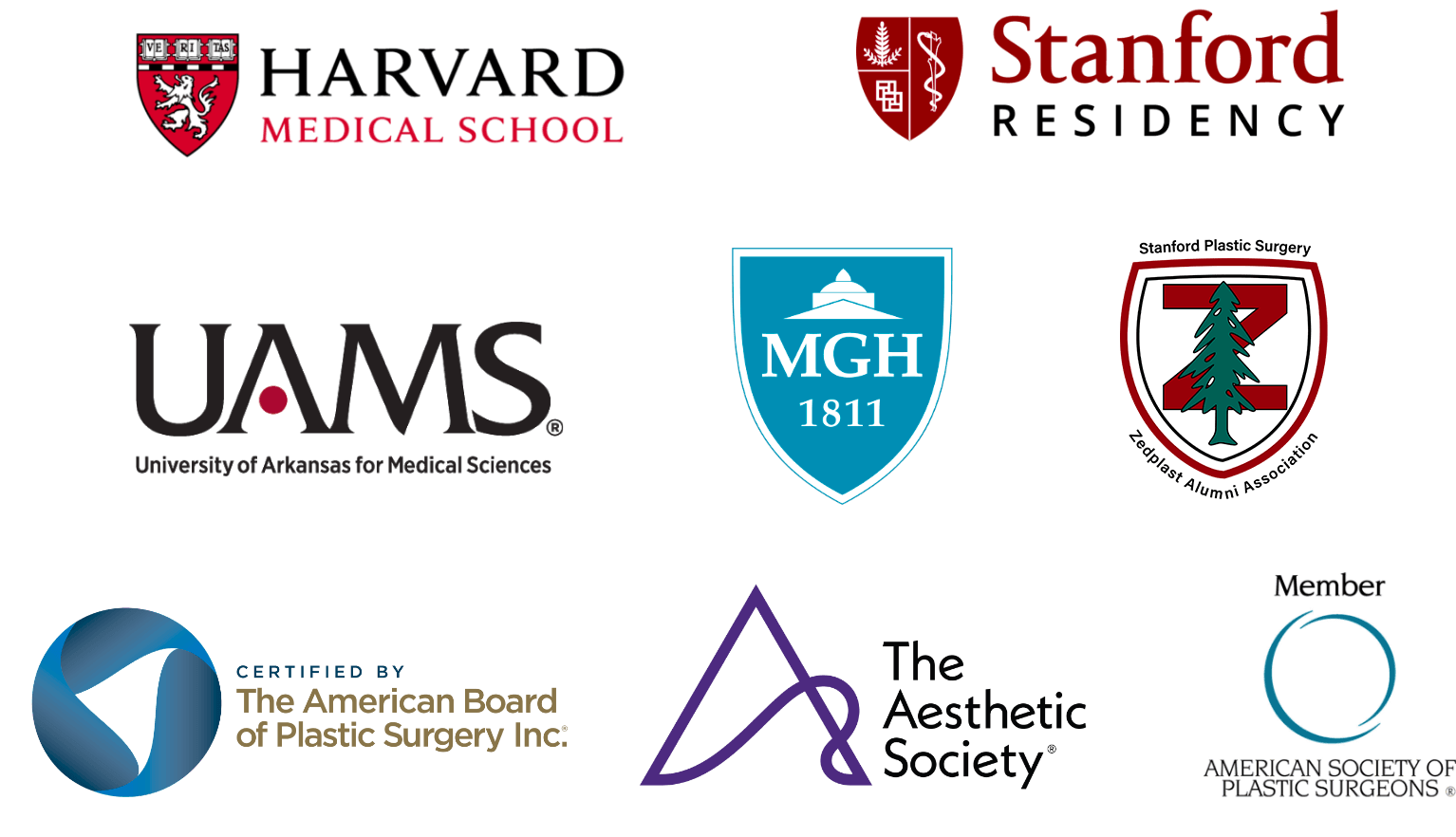 Logos for UAMS, Stanford Residency, Harvard Medical School, MGH, The American Board of Plastic Surgery, Inc., The Aesthetic Society, and the American Society of Plastic Surgeons